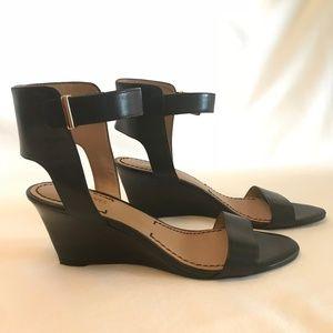 Nine West Black Wedge Buckle Sandal